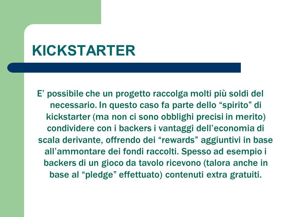 """KICKSTARTER E' possibile che un progetto raccolga molti più soldi del necessario. In questo caso fa parte dello """"spirito"""" di kickstarter (ma non ci so"""