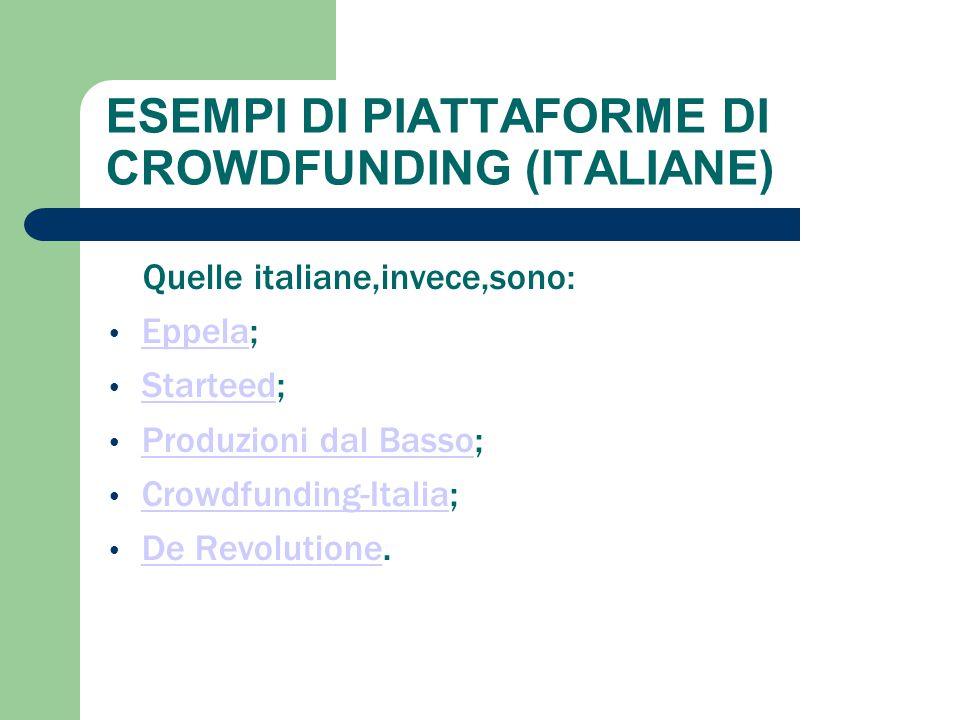 ESEMPI DI PIATTAFORME DI CROWDFUNDING (ITALIANE) Quelle italiane,invece,sono: Eppela; Eppela Starteed; Starteed Produzioni dal Basso; Produzioni dal B