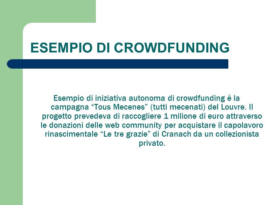 """ESEMPIO DI CROWDFUNDING Esempio di iniziativa autonoma di crowdfunding è la campagna """"Tous Mecenes"""" (tutti mecenati) del Louvre. Il progetto prevedeva"""
