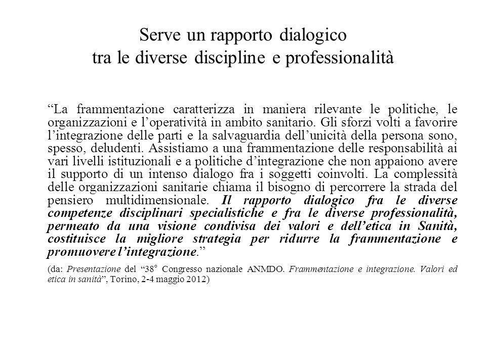 Serve un rapporto dialogico tra le diverse discipline e professionalità La frammentazione caratterizza in maniera rilevante le politiche, le organizzazioni e l'operatività in ambito sanitario.