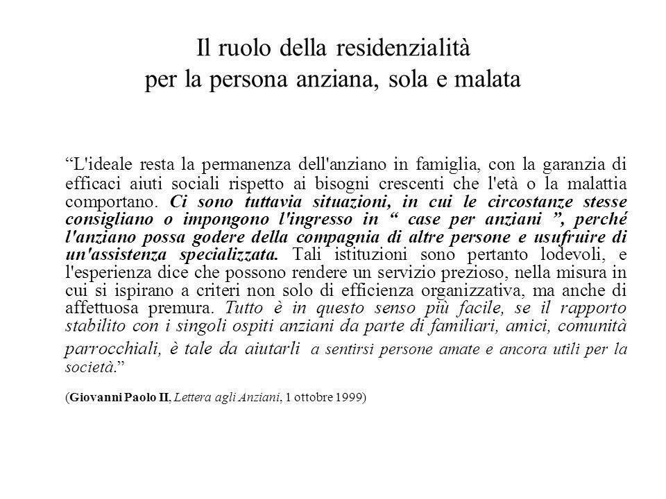 """Il ruolo della residenzialità per la persona anziana, sola e malata """"L'ideale resta la permanenza dell'anziano in famiglia, con la garanzia di efficac"""