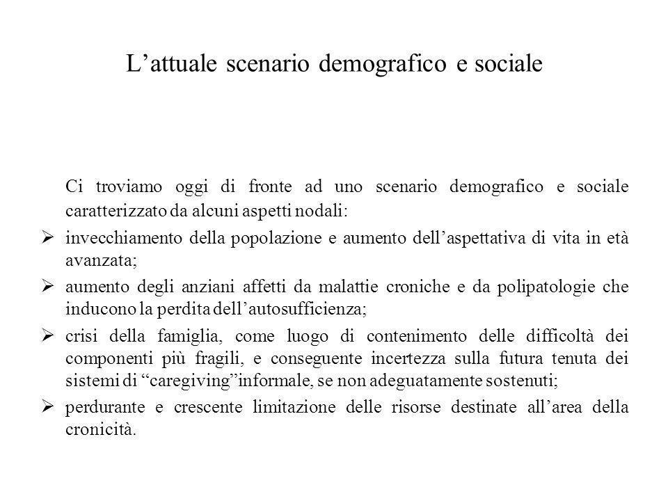 L'attuale scenario demografico e sociale Ci troviamo oggi di fronte ad uno scenario demografico e sociale caratterizzato da alcuni aspetti nodali:  i