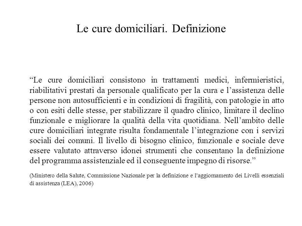 """Le cure domiciliari. Definizione """"Le cure domiciliari consistono in trattamenti medici, infermieristici, riabilitativi prestati da personale qualifica"""