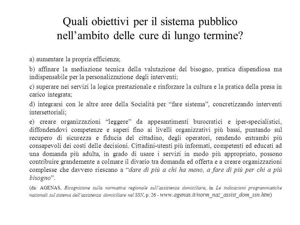 Quali obiettivi per il sistema pubblico nell'ambito delle cure di lungo termine? a) aumentare la propria efficienza; b) affinare la mediazione tecnica