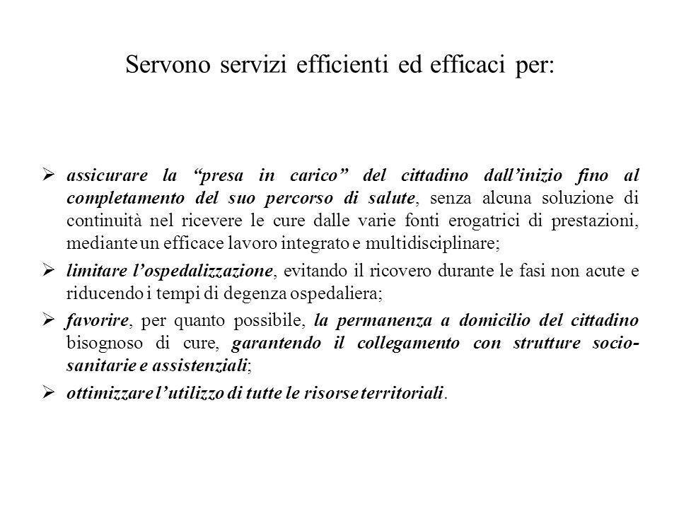 """Servono servizi efficienti ed efficaci per:  assicurare la """"presa in carico"""" del cittadino dall'inizio fino al completamento del suo percorso di salu"""