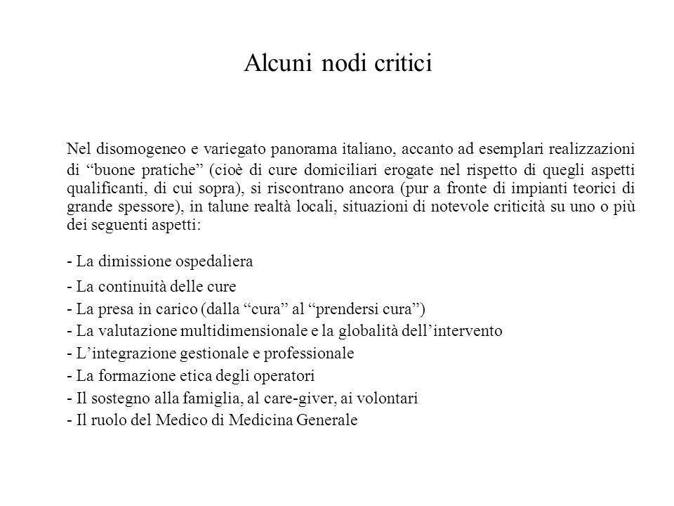 """Alcuni nodi critici Nel disomogeneo e variegato panorama italiano, accanto ad esemplari realizzazioni di """"buone pratiche"""" (cioè di cure domiciliari er"""
