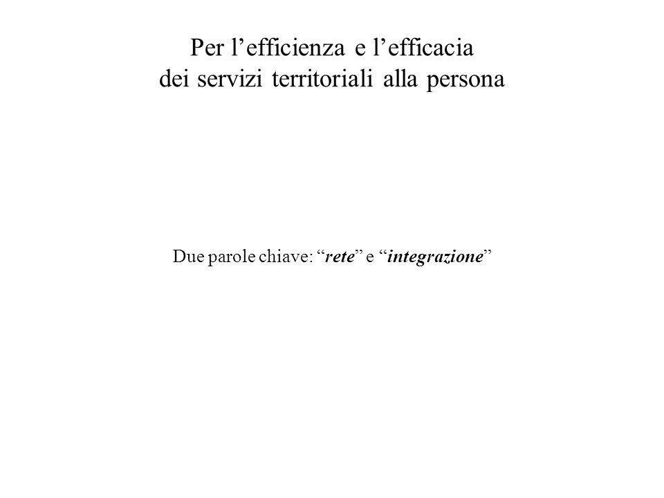 """Per l'efficienza e l'efficacia dei servizi territoriali alla persona Due parole chiave: """"rete"""" e """"integrazione"""""""