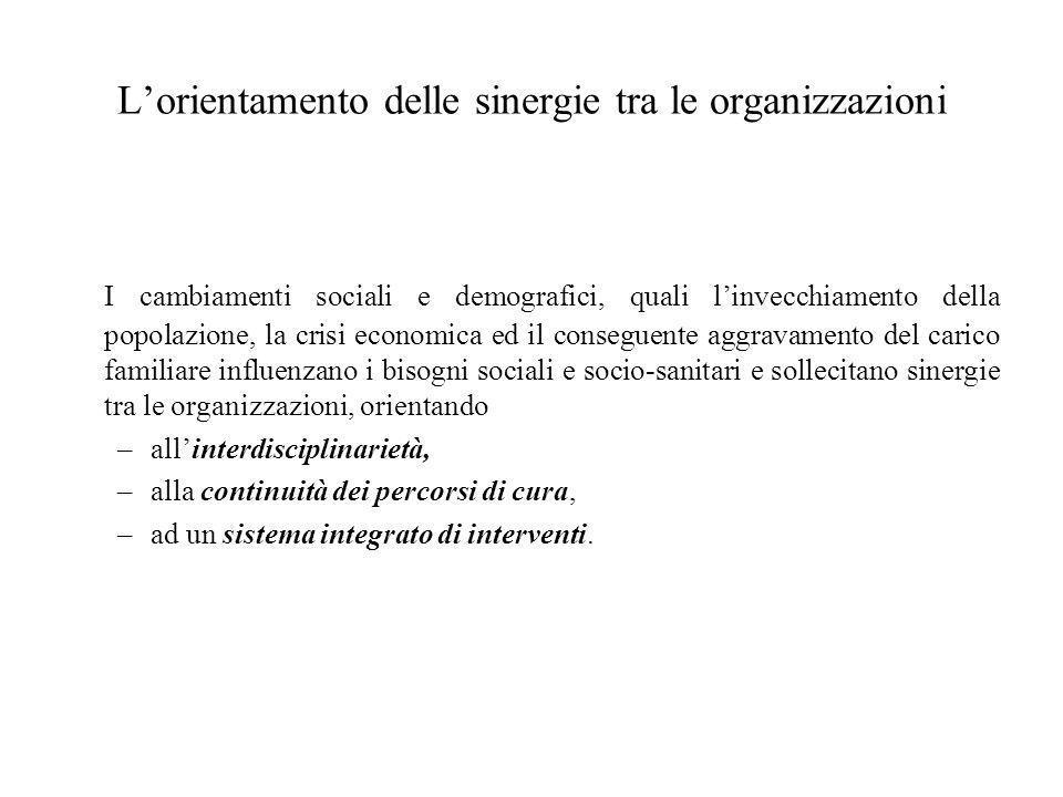 L'orientamento delle sinergie tra le organizzazioni I cambiamenti sociali e demografici, quali l'invecchiamento della popolazione, la crisi economica