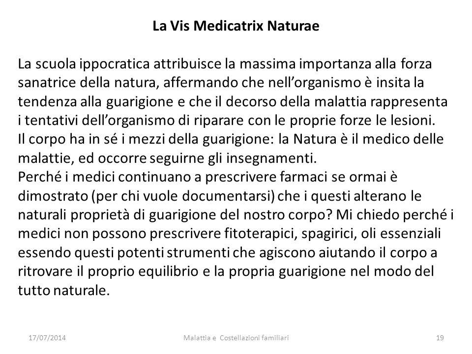 17/07/2014Malattia e Costellazioni familiari19 La Vis Medicatrix Naturae La scuola ippocratica attribuisce la massima importanza alla forza sanatrice