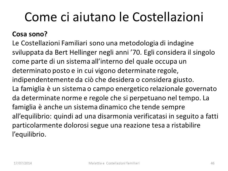 Come ci aiutano le Costellazioni Cosa sono? Le Costellazioni Familiari sono una metodologia di indagine sviluppata da Bert Hellinger negli anni '70. E