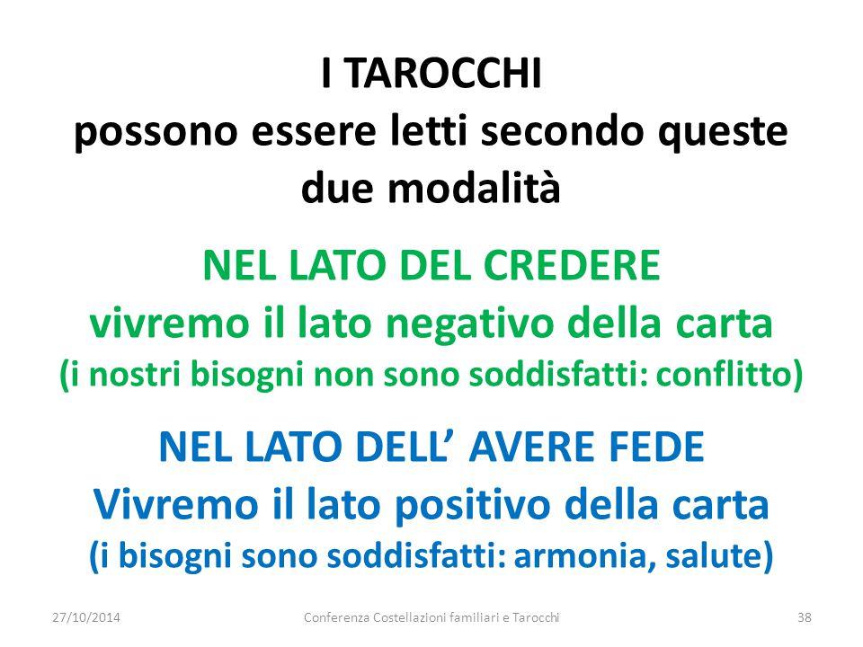Conferenza Costellazioni familiari e Tarocchi38 I TAROCCHI possono essere letti secondo queste due modalità NEL LATO DEL CREDERE vivremo il lato negat