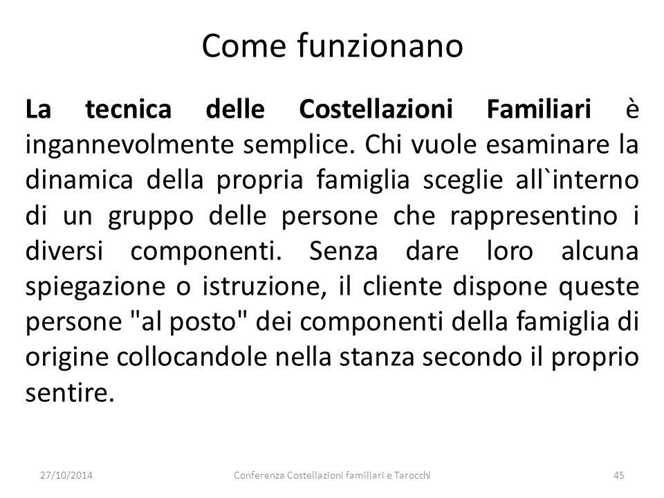 Conferenza Costellazioni familiari e Tarocchi45 La tecnica delle Costellazioni Familiari è ingannevolmente semplice. Chi vuole esaminare la dinamica d