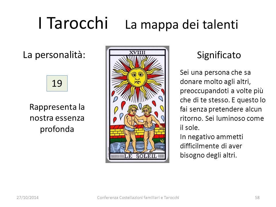 Conferenza Costellazioni familiari e Tarocchi58 La personalità: Significato 19 Rappresenta la nostra essenza profonda I Tarocchi La mappa dei talenti