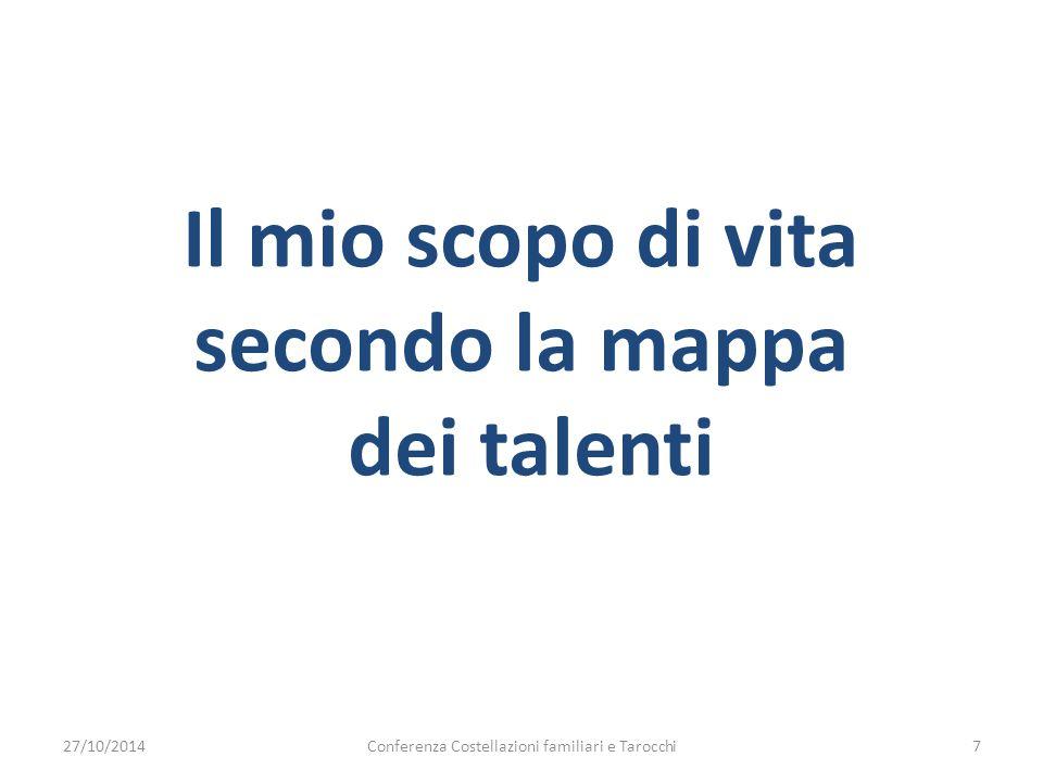 Il mio scopo di vita secondo la mappa dei talenti 27/10/2014Conferenza Costellazioni familiari e Tarocchi7