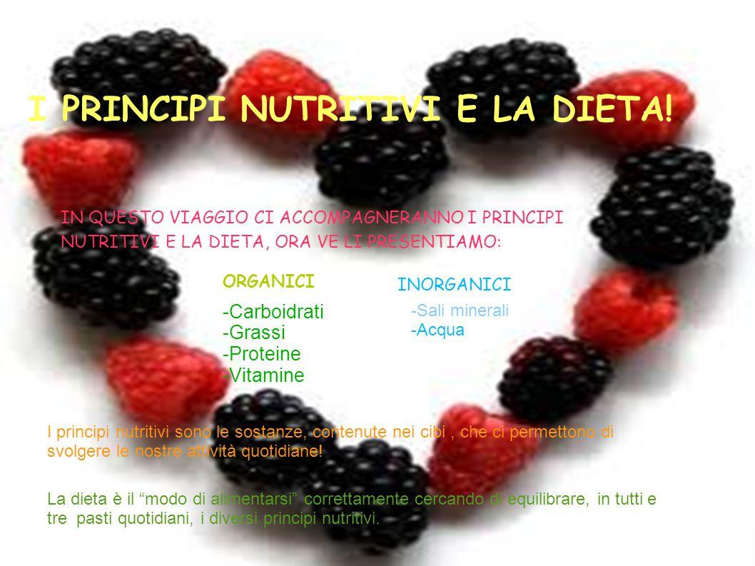 I PRINCIPI NUTRITIVI E LA DIETA! IN QUESTO VIAGGIO CI ACCOMPAGNERANNO I PRINCIPI NUTRITIVI E LA DIETA, ORA VE LI PRESENTIAMO: ORGANICI -Carboidrati -G