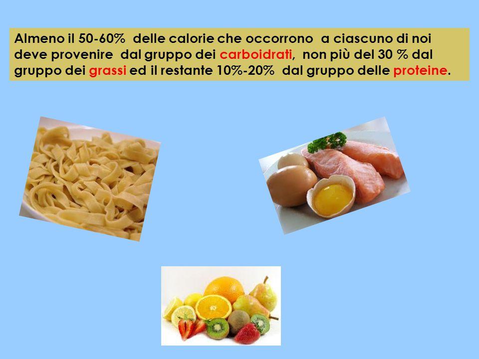Almeno il 50-60% delle calorie che occorrono a ciascuno di noi deve provenire dal gruppo dei carboidrati, non più del 30 % dal gruppo dei grassi ed il