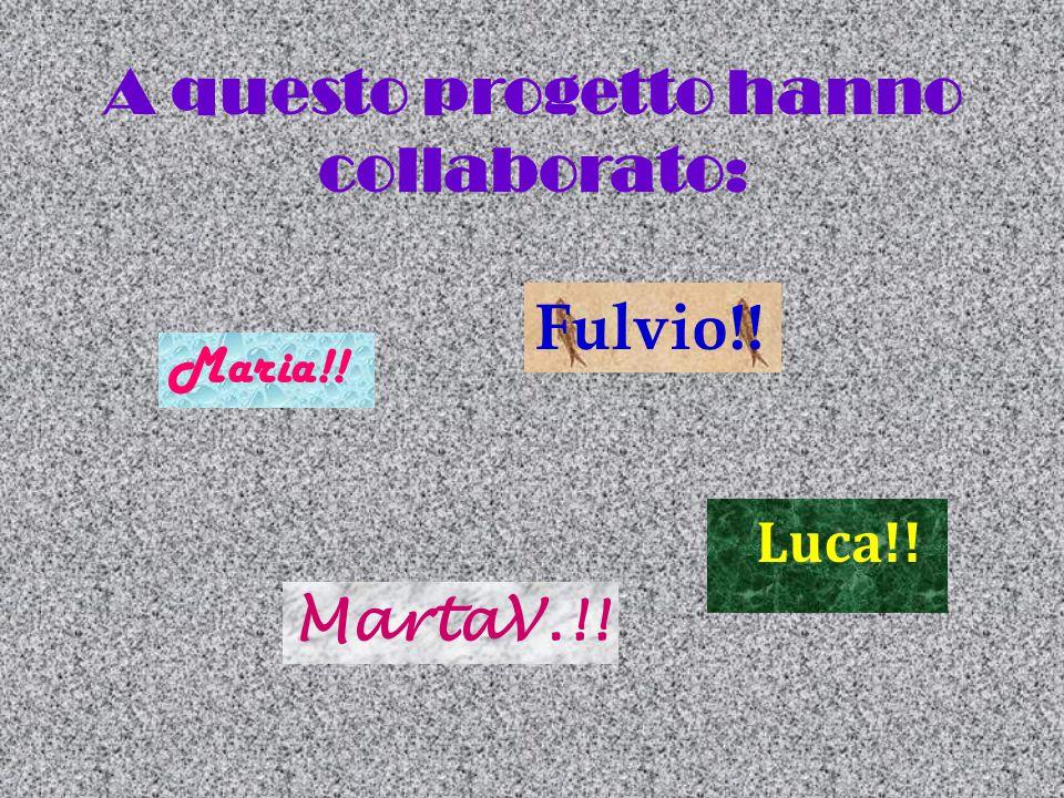 A questo progetto hanno collaborato: Fulvio!! Maria!! Luca!! MartaV.!!
