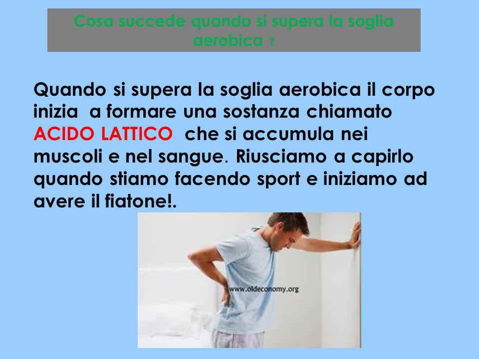 Cosa succede quando si supera la soglia aerobica ? Quando si supera la soglia aerobica il corpo inizia a formare una sostanza chiamato ACIDO LATTICO c