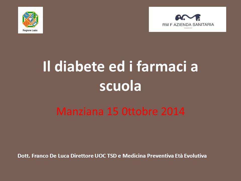 Il diabete ed i farmaci a scuola Manziana 15 0ttobre 2014 Dott. Franco De Luca Direttore UOC TSD e Medicina Preventiva Età Evolutiva