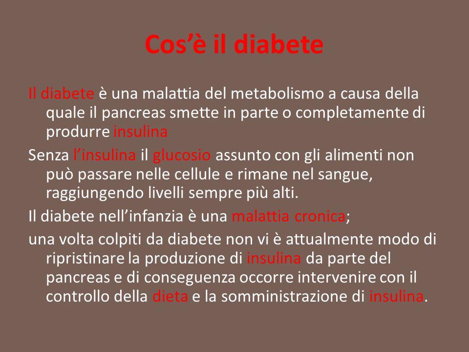 Cos'è il diabete Il diabete è una malattia del metabolismo a causa della quale il pancreas smette in parte o completamente di produrre insulina Senza
