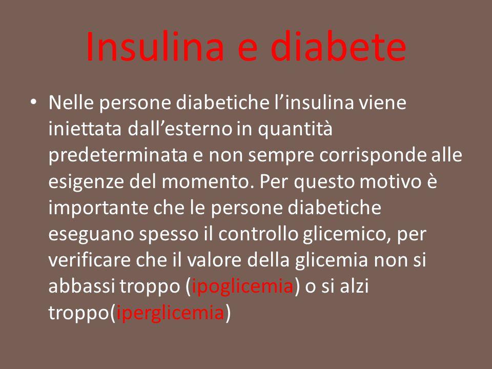 Insulina e diabete Nelle persone diabetiche l'insulina viene iniettata dall'esterno in quantità predeterminata e non sempre corrisponde alle esigenze