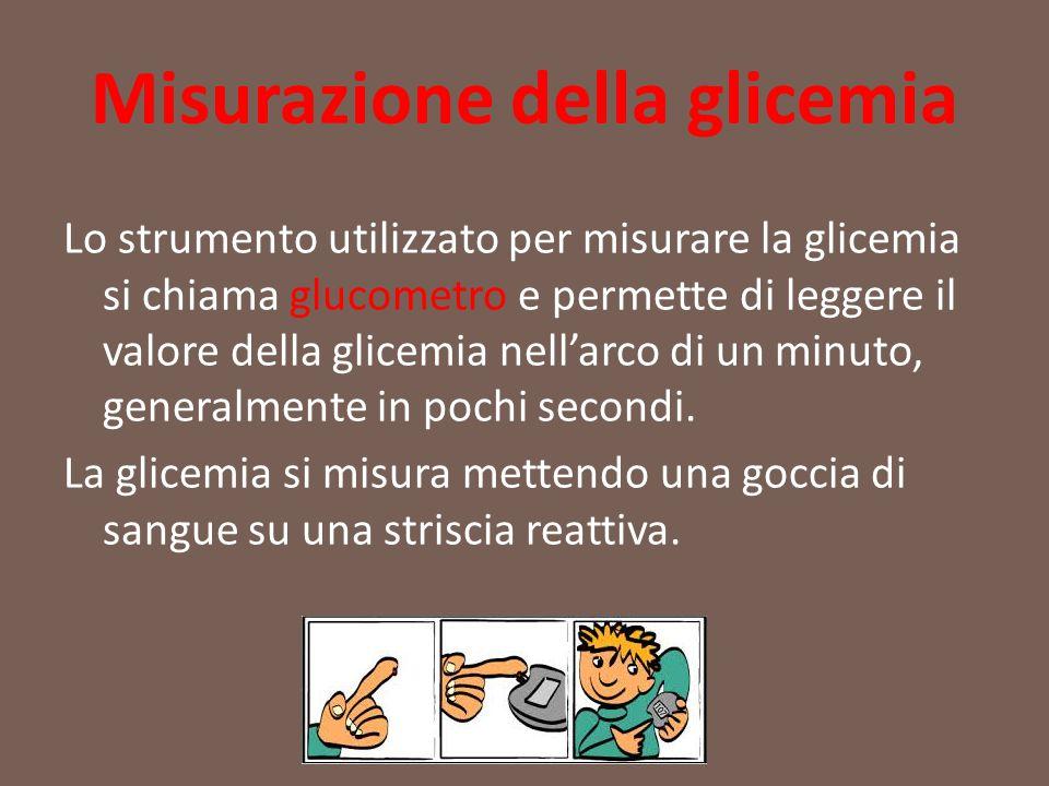 Misurazione della glicemia Lo strumento utilizzato per misurare la glicemia si chiama glucometro e permette di leggere il valore della glicemia nell'a