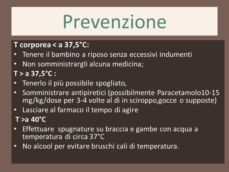 Prevenzione T corporea < a 37,5°C: Tenere il bambino a riposo senza eccessivi indumenti Non somministrargli alcuna medicina; T > a 37,5°C : Tenerlo il