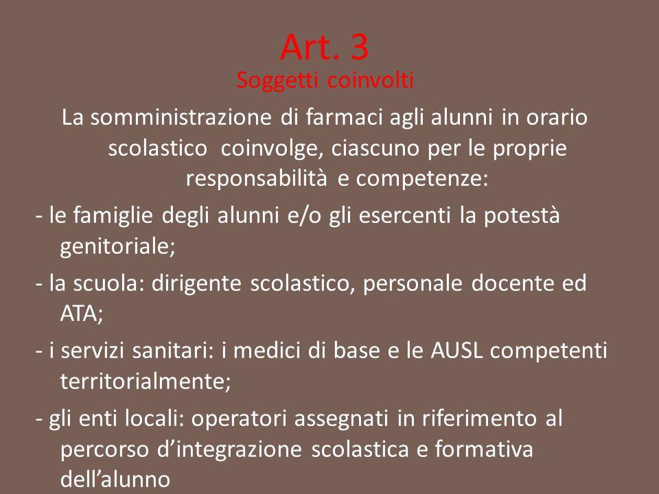 Art. 3 Soggetti coinvolti La somministrazione di farmaci agli alunni in orario scolastico coinvolge, ciascuno per le proprie responsabilità e competen