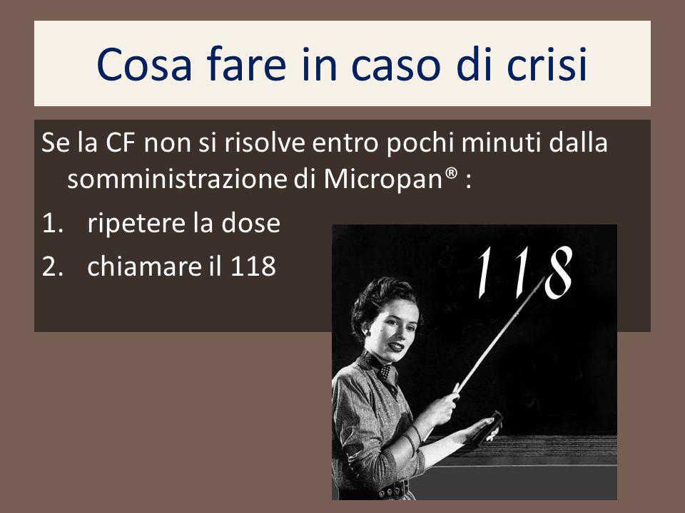 Cosa fare in caso di crisi Se la CF non si risolve entro pochi minuti dalla somministrazione di Micropan® : 1. ripetere la dose 2. chiamare il 118