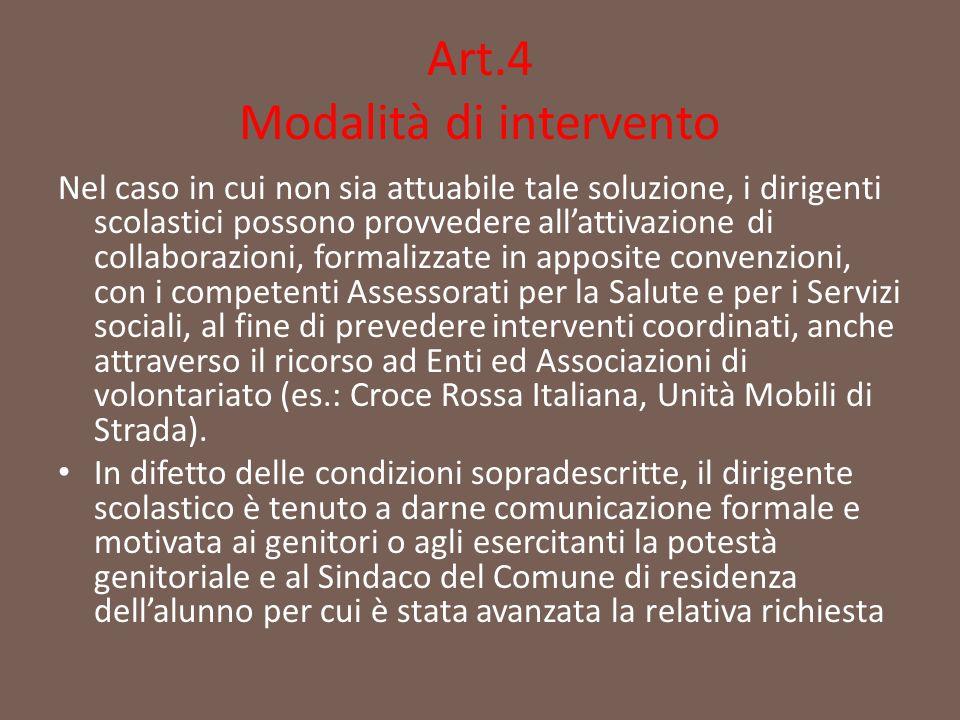 Art.4 Modalità di intervento Nel caso in cui non sia attuabile tale soluzione, i dirigenti scolastici possono provvedere all'attivazione di collaboraz