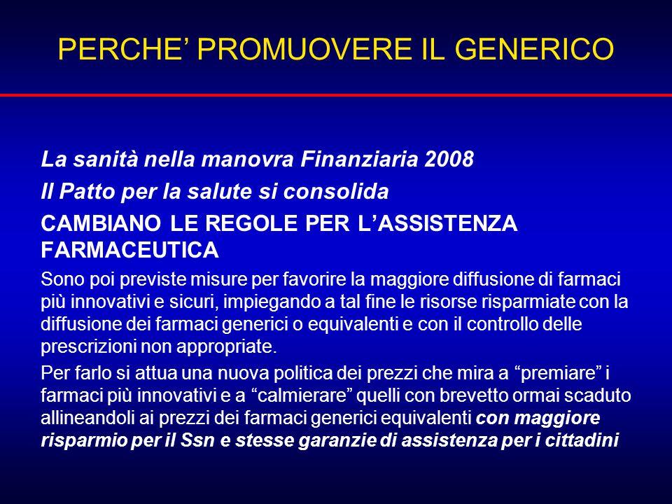PERCHE' PROMUOVERE IL GENERICO La sanità nella manovra Finanziaria 2008 Il Patto per la salute si consolida CAMBIANO LE REGOLE PER L'ASSISTENZA FARMAC