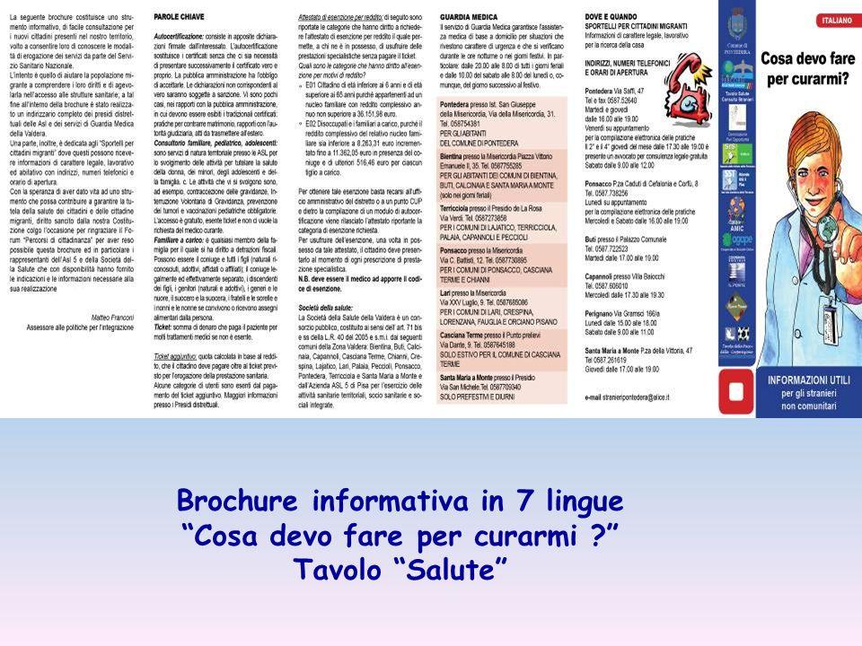 Brochure informativa in 7 lingue Cosa devo fare per curarmi Tavolo Salute