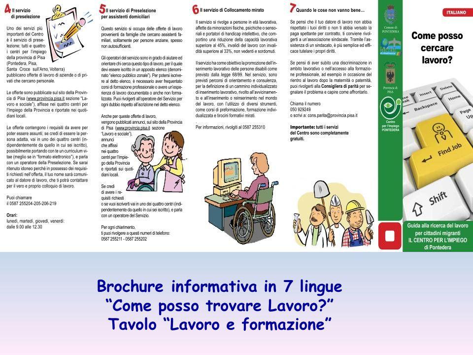 Brochure informativa in 7 lingue Come posso trovare Lavoro Tavolo Lavoro e formazione