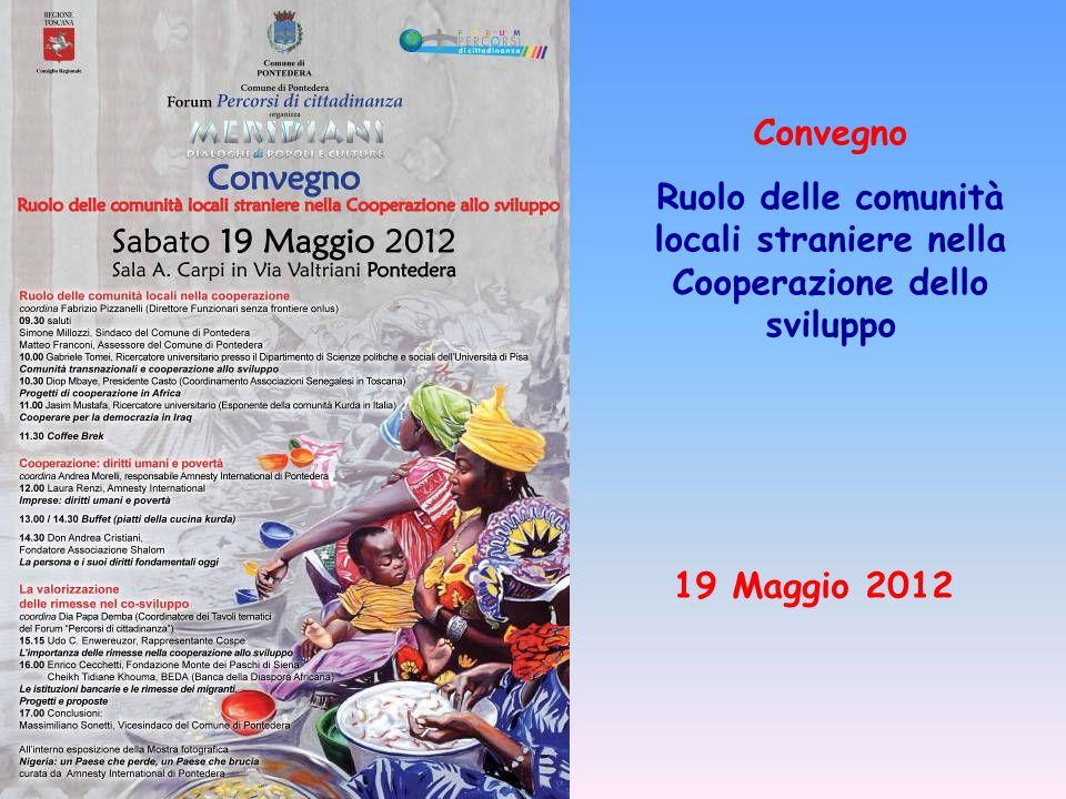 Convegno Ruolo delle comunità locali straniere nella Cooperazione dello sviluppo 19 Maggio 2012