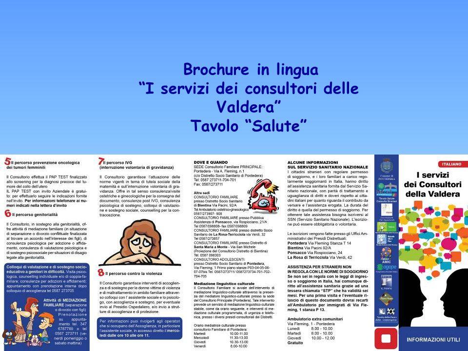 Brochure in lingua I servizi dei consultori delle Valdera Tavolo Salute
