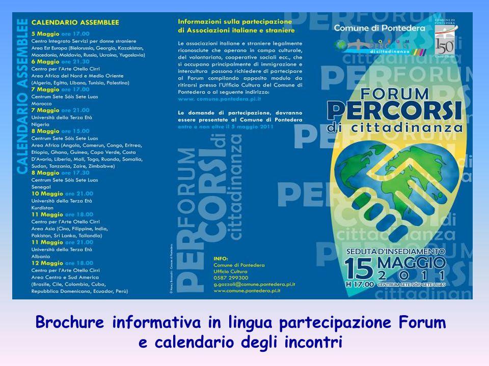Brochure informativa in lingua partecipazione Forum e calendario degli incontri