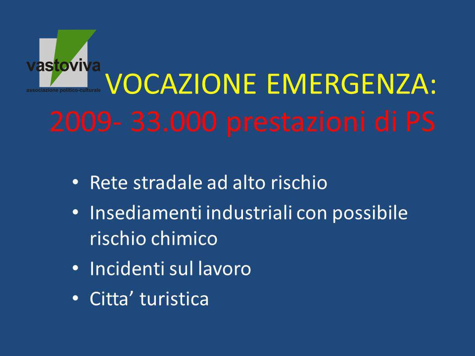 VOCAZIONE EMERGENZA: 2009- 33.000 prestazioni di PS Rete stradale ad alto rischio Insediamenti industriali con possibile rischio chimico Incidenti sul lavoro Citta' turistica