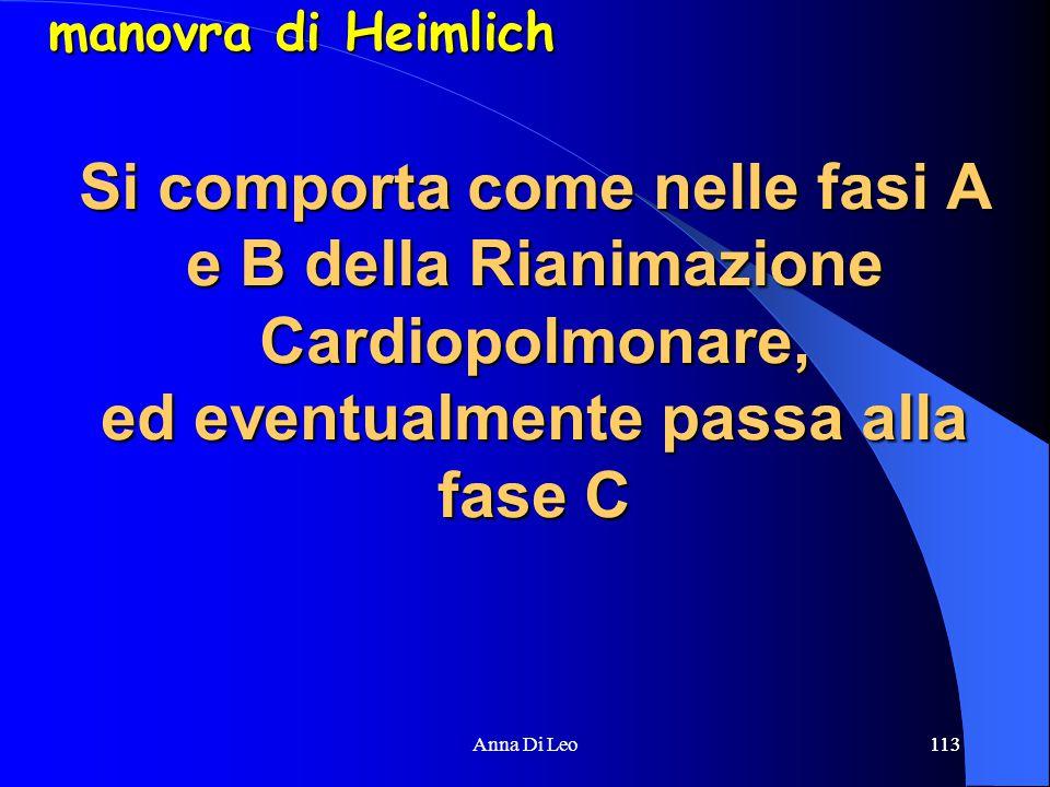 113Anna Di Leo113 Si comporta come nelle fasi A e B della Rianimazione Cardiopolmonare, ed eventualmente passa alla fase C manovra di Heimlich
