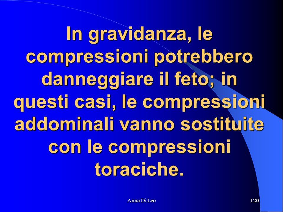 120Anna Di Leo120 In gravidanza, le compressioni potrebbero danneggiare il feto; in questi casi, le compressioni addominali vanno sostituite con le compressioni toraciche.