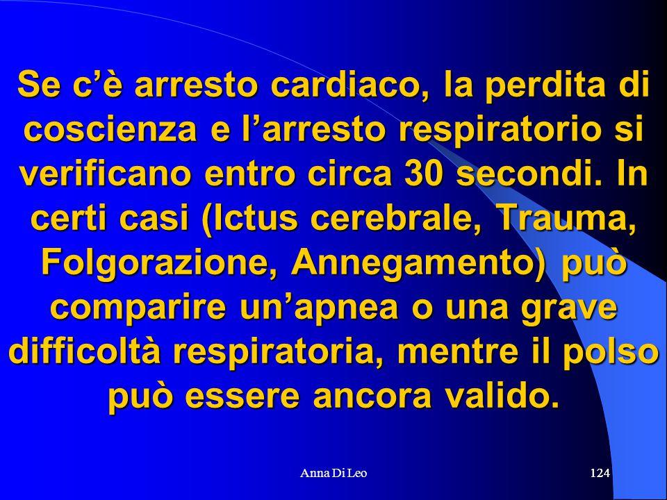 124Anna Di Leo124 Se c'è arresto cardiaco, la perdita di coscienza e l'arresto respiratorio si verificano entro circa 30 secondi.