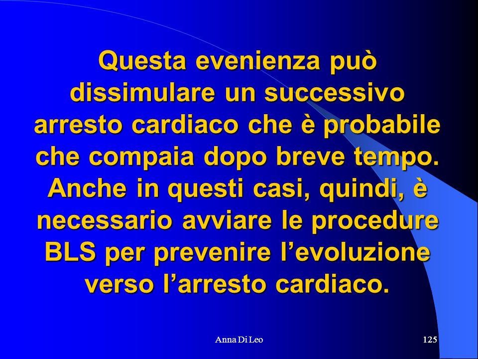 125Anna Di Leo125 Questa evenienza può dissimulare un successivo arresto cardiaco che è probabile che compaia dopo breve tempo.