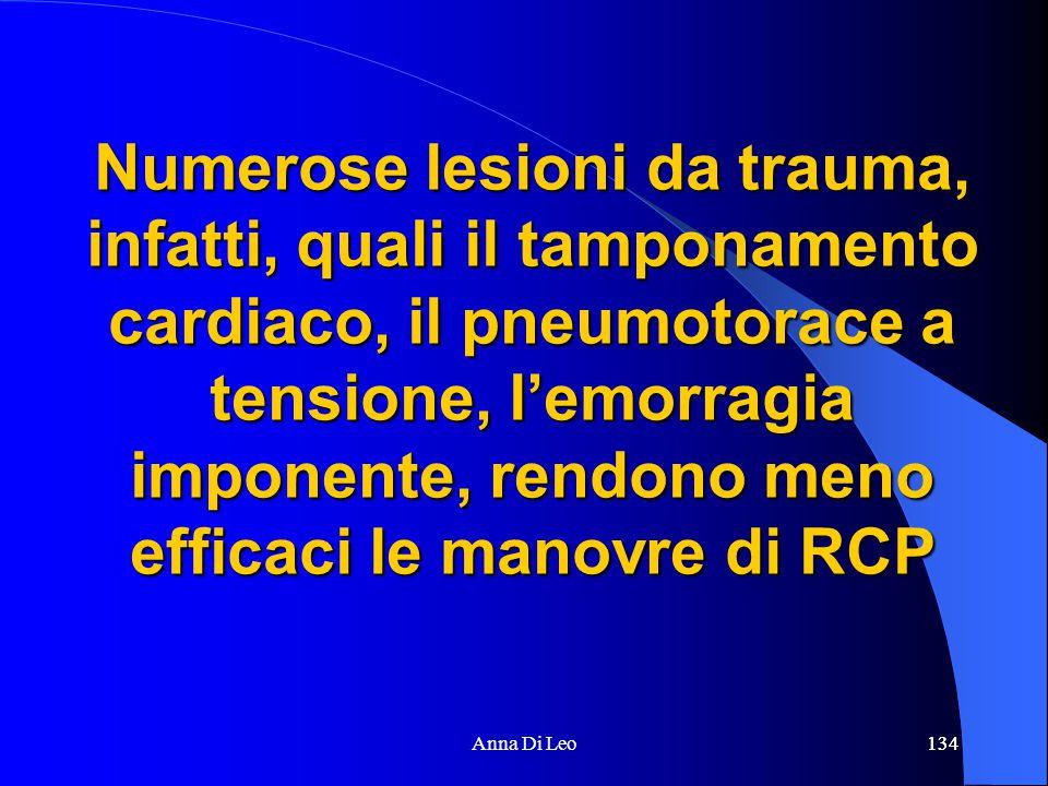 134Anna Di Leo134 Numerose lesioni da trauma, infatti, quali il tamponamento cardiaco, il pneumotorace a tensione, l'emorragia imponente, rendono meno efficaci le manovre di RCP