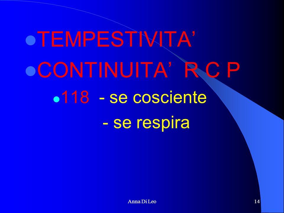 TEMPESTIVITA' CONTINUITA' R C P 118 - se cosciente - se respira Anna Di Leo14