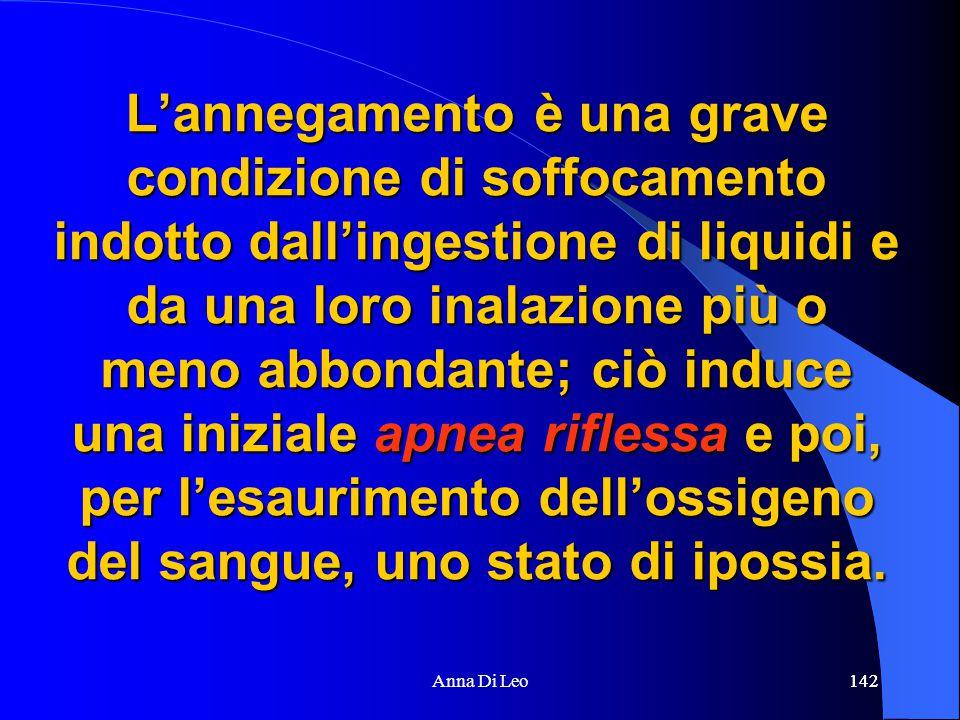 142Anna Di Leo142 L'annegamento è una grave condizione di soffocamento indotto dall'ingestione di liquidi e da una loro inalazione più o meno abbondan