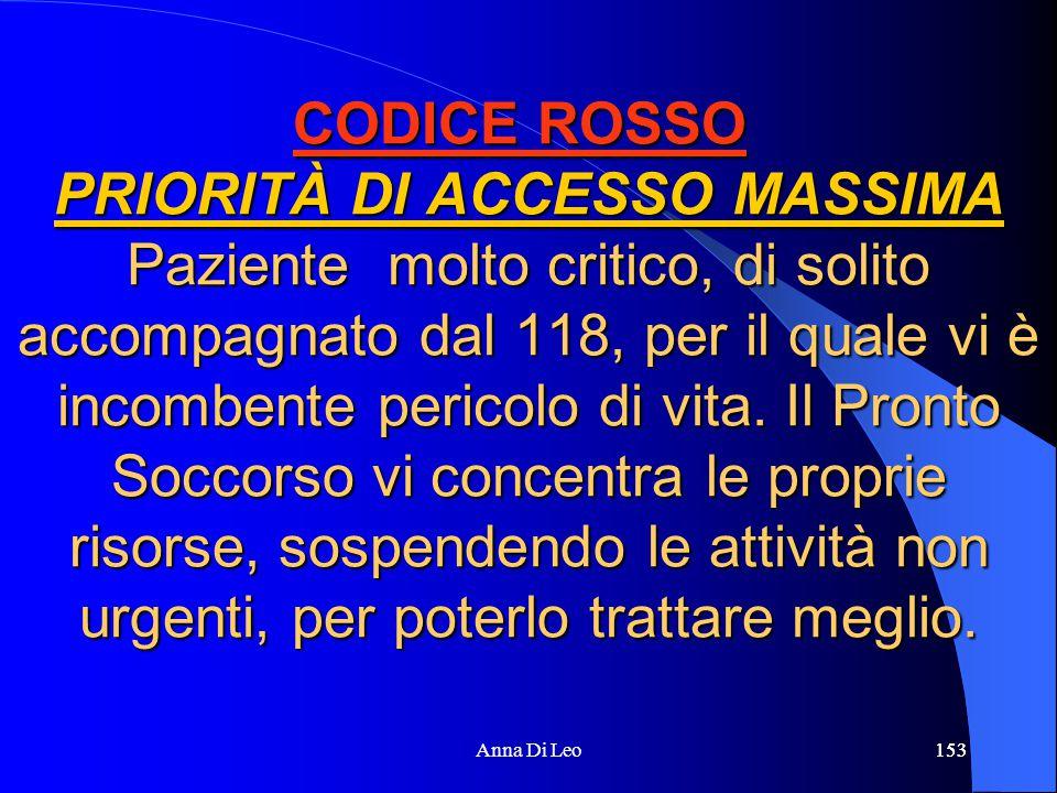 153Anna Di Leo153 CODICE ROSSO PRIORITÀ DI ACCESSO MASSIMA Paziente molto critico, di solito accompagnato dal 118, per il quale vi è incombente pericolo di vita.