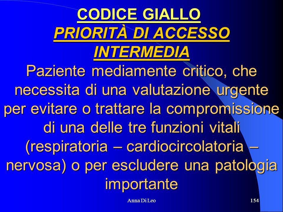 154Anna Di Leo154 CODICE GIALLO PRIORITÀ DI ACCESSO INTERMEDIA Paziente mediamente critico, che necessita di una valutazione urgente per evitare o tra
