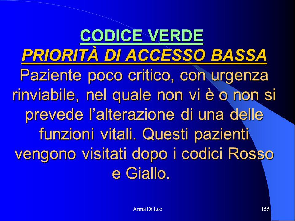 155Anna Di Leo155 CODICE VERDE PRIORITÀ DI ACCESSO BASSA Paziente poco critico, con urgenza rinviabile, nel quale non vi è o non si prevede l'alterazione di una delle funzioni vitali.