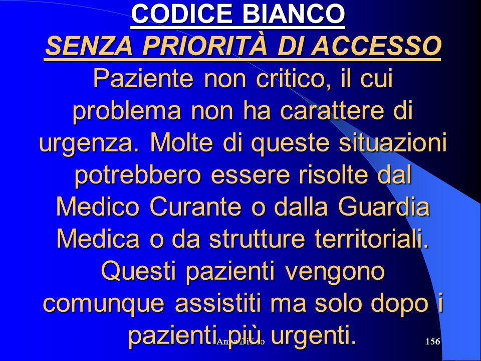 156Anna Di Leo156 CODICE BIANCO SENZA PRIORITÀ DI ACCESSO Paziente non critico, il cui problema non ha carattere di urgenza. Molte di queste situazion