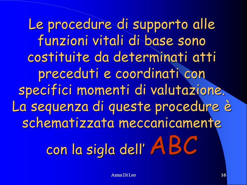 16Anna Di Leo16 Le procedure di supporto alle funzioni vitali di base sono costituite da determinati atti preceduti e coordinati con specifici momenti di valutazione.