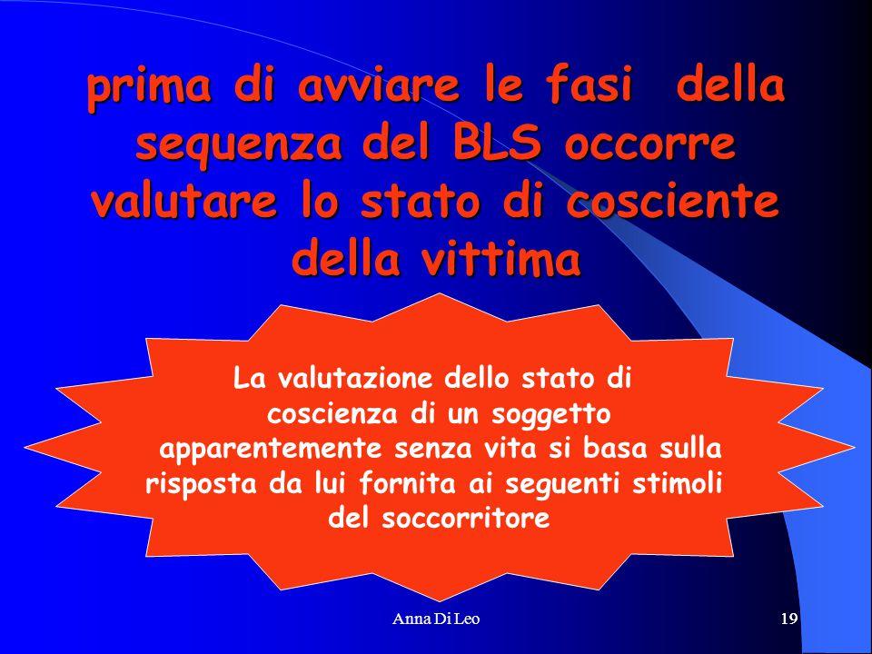 19Anna Di Leo19 prima di avviare le fasi della sequenza del BLS occorre valutare lo stato di cosciente della vittima La valutazione dello stato di cos